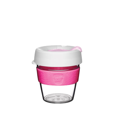 KeepCup Reusable Coffee Cup - Original Clear Small 8oz White/Pink (Hazel)