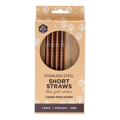 Stainless Steel Straws & Cleaning Brush - Short Straight Rose Gold (4 Pack)-out & about-MintEcoShop