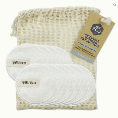 Ever Eco Reusable Bamboo Facial Pads and Wash Bag(10 Pack)