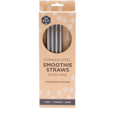 Stainless Steel Smoothie Straws & Cleaning Brush - Straight (4 Pack)-out & about-MintEcoShop