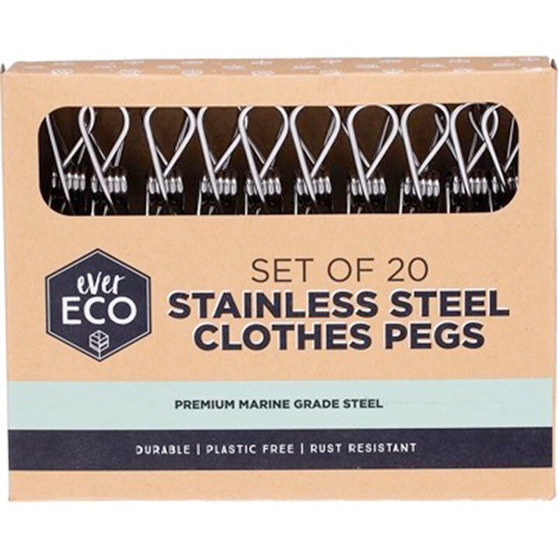 Stainless Steel Clothes Pegs (20 Pack)-laundry-MintEcoShop