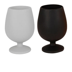 Porter Green Stemm Unbreakable Silicone Wine Glasses - Limoges (Dove & Black)