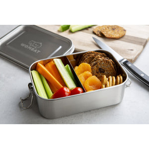 Wombat Stainless Steel Lunch Box with Removable Divider - Medium (800ml)