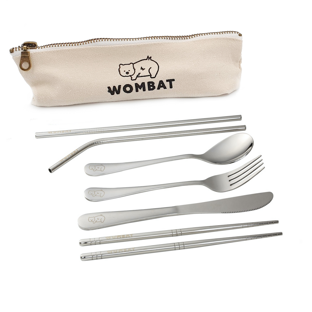 Wombat Metal Portable Travel Cutlery Set with Cotton Pouch