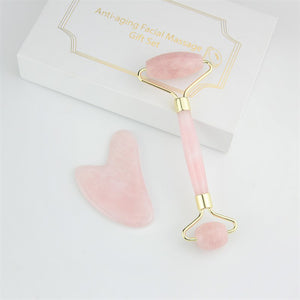 Jade Roller & Gua Sha Set - Rose Quartz