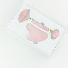 Load image into Gallery viewer, Jade Roller & Gua Sha Set - Rose Quartz