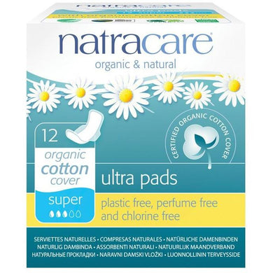 Natracare Ultra Pads - Super (12 Pack)-Pads & Liners-MintEcoShop