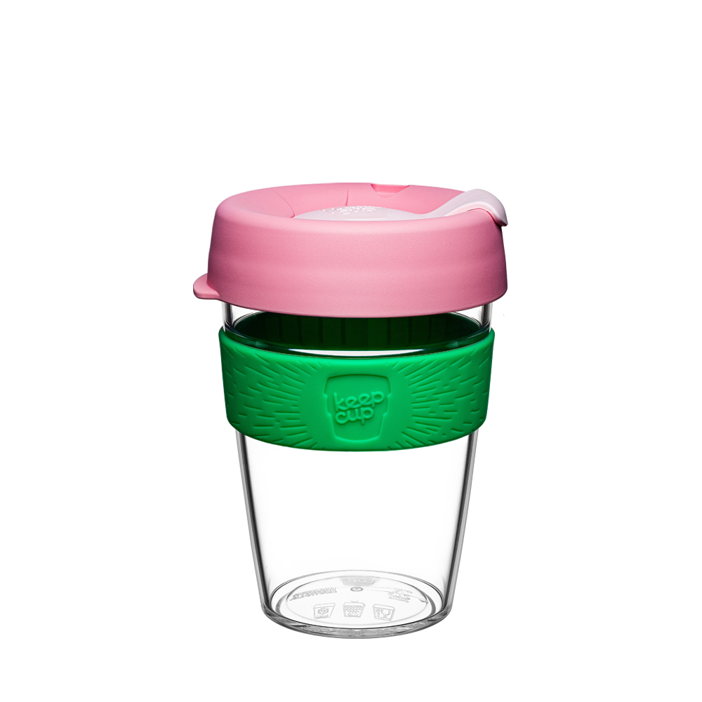 KeepCup Reusable Coffee Cup - Original Clear Medium 12oz Pink/Green (Willow)