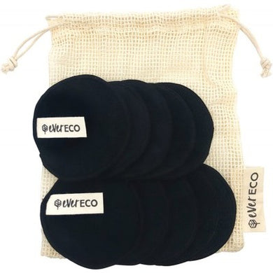 Ever Eco Reusable Black Bamboo Facial Pads and Wash Bag (10 Pack)
