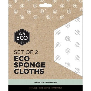 Ever Eco Compostable Sponge Cloths - Scandi Leaves (2 Pack)