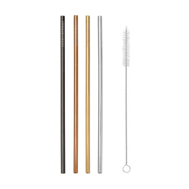 Seed & Sprout Stainless Steel Straws and Cleaning Brush - Straight (4 Pack)