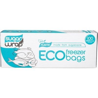 Sugarwrap Eco Freezer Bags Made from Sugarcane - Medium (100 Pack)