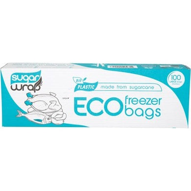 Sugarwrap Eco Freezer Bags Made from Sugarcane - Large (100 Pack)