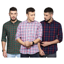 Load image into Gallery viewer, Combo of 3 Slim Fit Check Shirts for Men