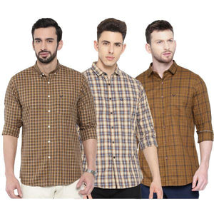 Combo of 3 Slim Fit Cotton Fabric Check Shirts for Men