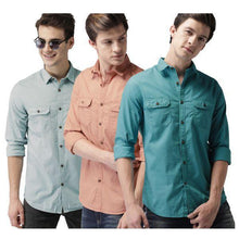 Load image into Gallery viewer, Combo of 3 Slim Fit Cotton Fabric Printed Shirts for Men