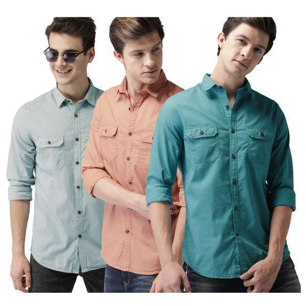 Combo of 3 Slim Fit Cotton Fabric Printed Shirts for Men