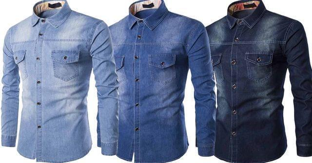 Combo of 3 New blue color Branded Fashionable Slim Fit Men's shirts