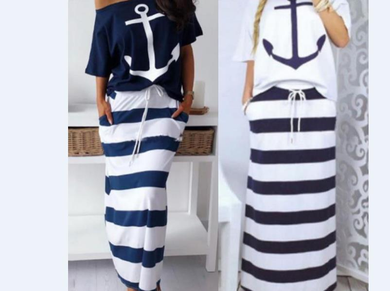Women Two Piece Sets Boat Anchor Print T-Shirt & Striped Skirt Sets Ankle-Length Fashion Street Wear Casual Maxi Striped Skirts