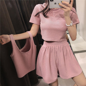 Two Piece Set Pink Outfit Two Tops and Pants Loose Biker Shorts + Sports T-shirt 3 Piece Set Tracksuit Summer Clothes for Women