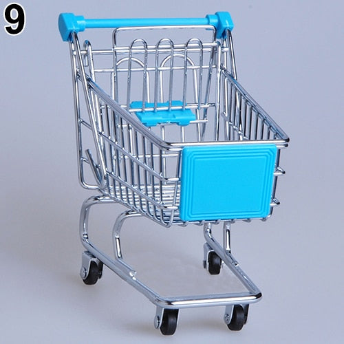 baby pretend toy Supermarket Hand Trolley Mini Shopping Cart Desktop Decoration Storage Toy Gift Dollhouse Furniture Accessories
