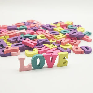 100Pcs Party Home Craft 15mm Alphabet Decoration Mixed DIY Word Handmade Wooden Letters Numbers Multi-coloured Gift Block