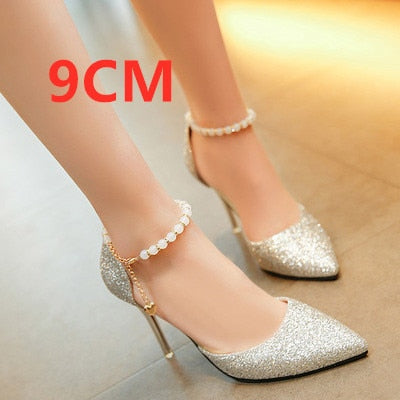 Cresfimix women fashion comfortable sweet pearl black high heel shoes lady cute pointed toe buckle clip high heel pumps b2920