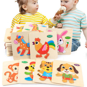 1PCS Baby 3D Wooden Puzzle Toys for Children Cartoon Animal Vehicle Wood  Kids Baby Early Educational Learning Toy