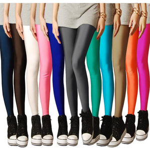 Sexy Push Up Workout Leggings Women Fitness Multiple Color Neon High Waist Legging Shiny Summer Ladies Pants Trousers Black Pink