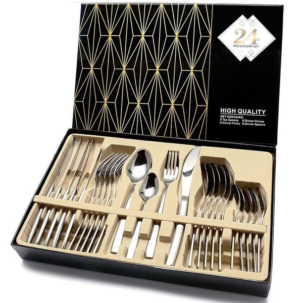 24PCS Gold Cutlery Dinner Set