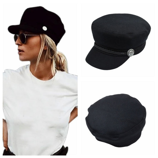 Fashion black Hat Winter Cap Wool Hat Women Button Cap Casual Street wear rope flat Cap Elegant Solid Autumn