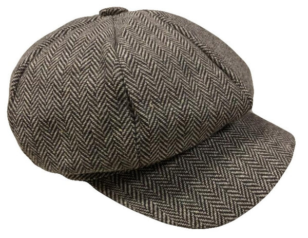 Men Tweed Beret Cap Peaky Blinders Baker Boy Flat Check Grandad Hat Man