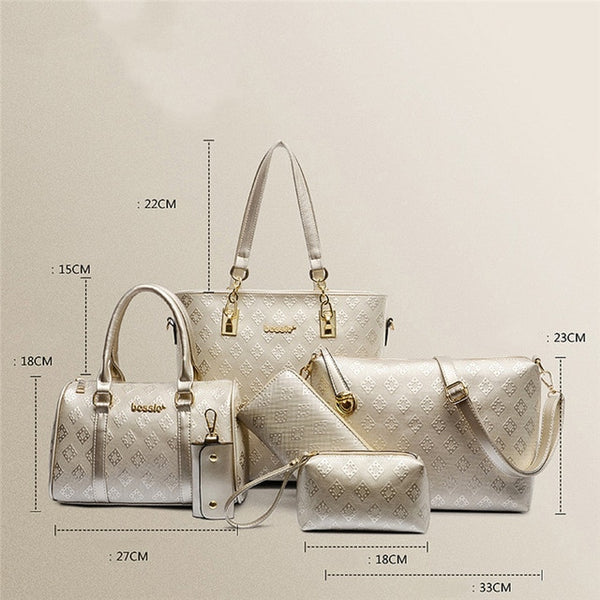 6 Pcs / Set Fashion Women Composite Bags PU Leather Diamond Lattice Print Women Handbag Shoulder Bag Wallets Purse Key Bag Set