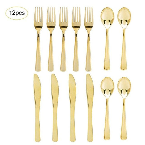 12Pcs Flat Plating Gold Disposable Cutlery