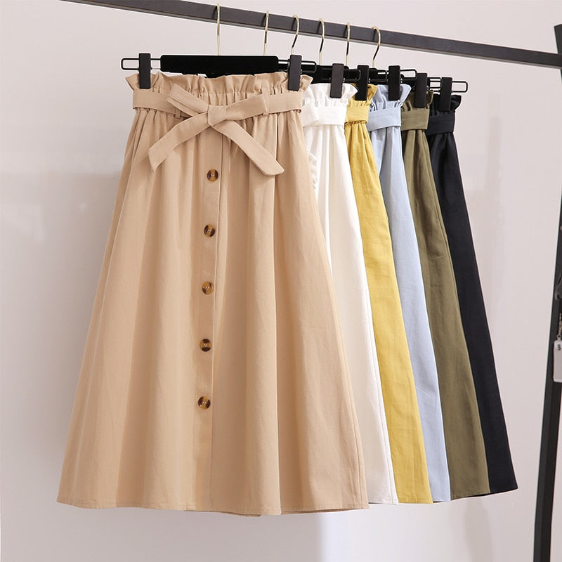 Women Skirts Fashion 2019 High Waist Skirt Women Spring Summer Midi Skirts Womens Elastic Waist A Line Ladies Skirts With Belt