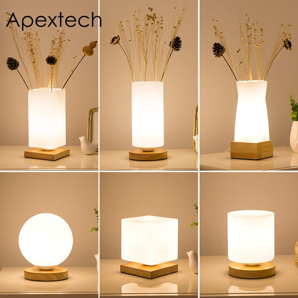 Apextech Wood+Glass Table Lights Modern Simplicity Style Desk Decoration Reading Lamp Bedroom Bedside Night Light