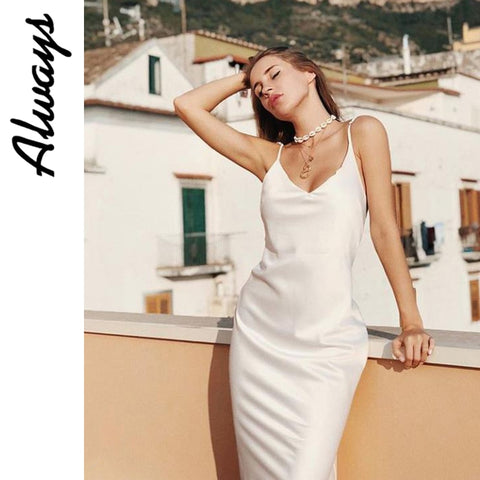 Awayss womans summer slip silk dress white satin dress elegant ladies work slit dressslit v neck sexy dress 5xl