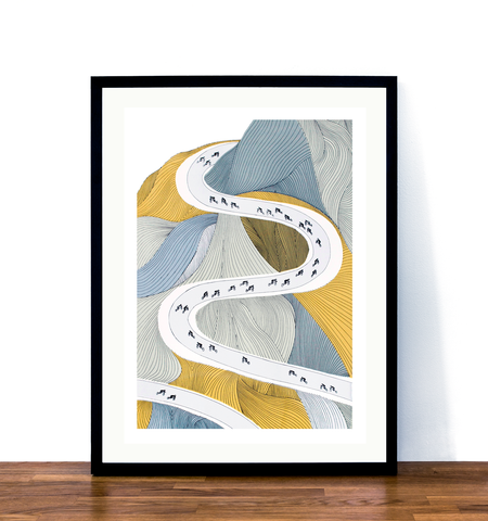 Image of Alpe d'Huez print framed