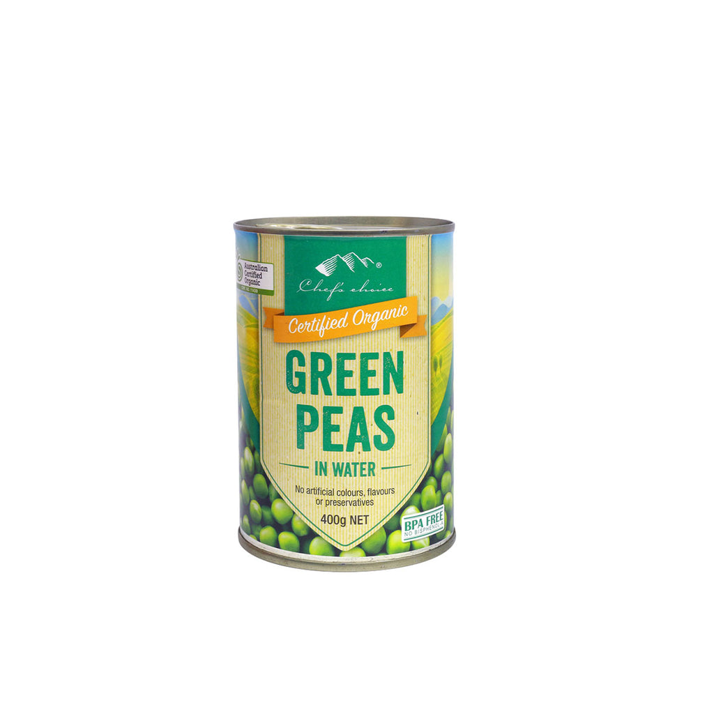 Chefs Choice Certified Organic Green Peas.