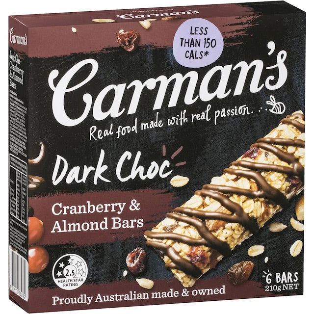 Carman's Dark Choc Cranberry & Almond Bars (210g)