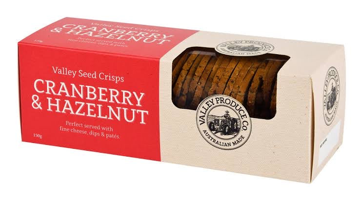 Valley Seed Crisps- Cranberry & Hazelnut (150g)