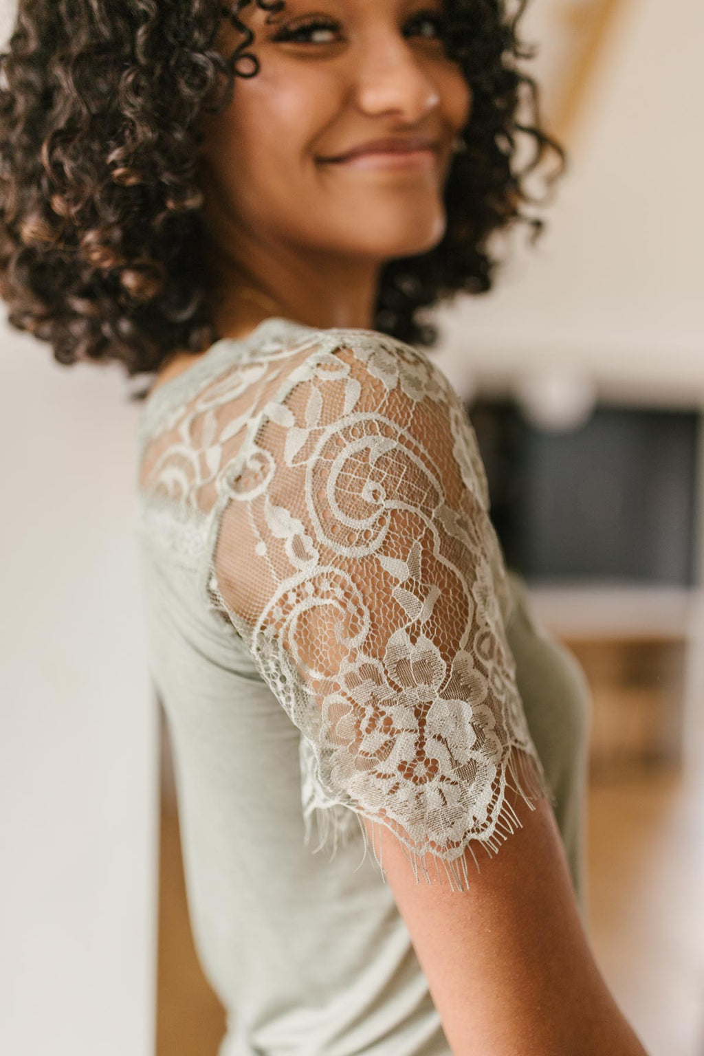 A Little Bit of Lace Top In Sage