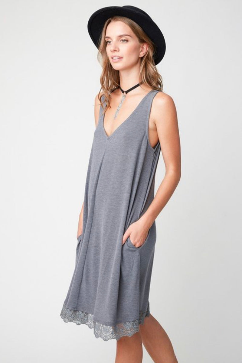 Lace Trim Pocket Dress
