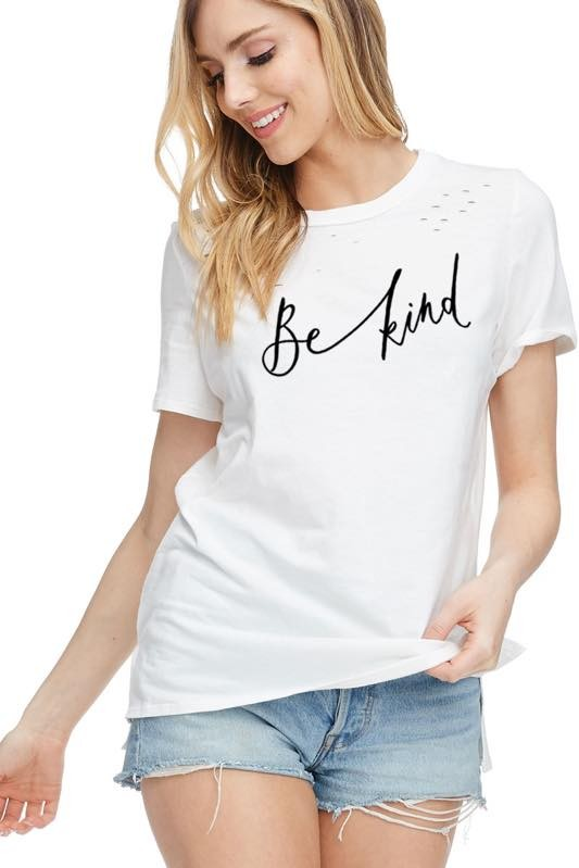 'Be Kind' Distressed Tee