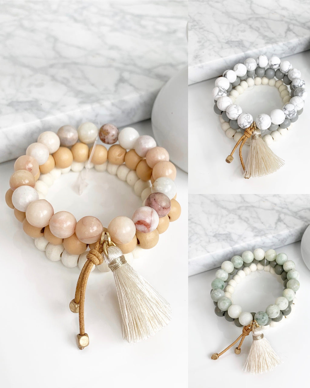 Wood with Natural Stone Bead Bracelet