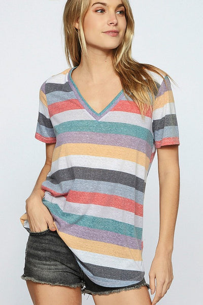 'Live in Color' V-Neck Tee