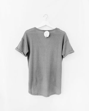Front Tie Waffle Knit Tee