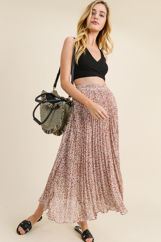 Animal Print Pleated Skirt