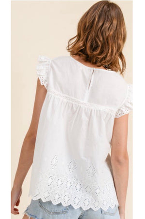 'Fly with Me' Babydoll Eyelet Blouse