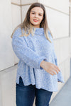 Cozy Cowl Neck Sweater in Heather Blue